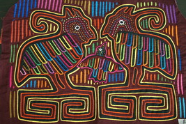 Kuna Mola Hand stitched Applique Folk Art Crested Birds Geometric Backgr... - $56.99