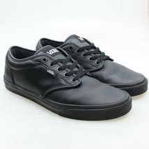 VANS Mens Size 9 Black Leather Perforated Low Top Lace-up Skate Sneakers - $24.74