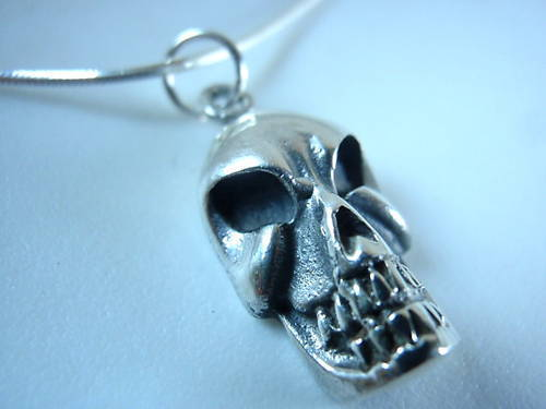 Primary image for New Nasty Looking Skull 925 Sterling Silver Necklace