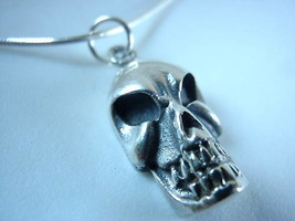 New Nasty Looking Skull 925 Sterling Silver Necklace - $19.75