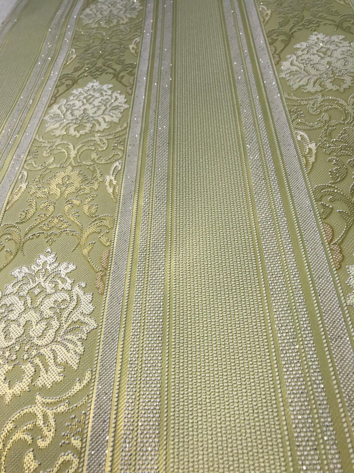 Damask Stripes Wallpaper Roll Olive Green Gold Metallic Victorian Embossed
