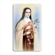 St Therese Patron Saint Of Florists Aids MIssionaries Gardeners Vinyl Ma... - $6.64