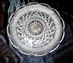 Cut Glass 5 Partition Serving Tray with Diamond Design AA18-11814Vintage Heavy