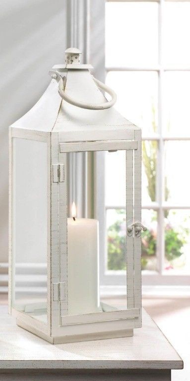 Large Sleek Simply White Traditional Candle Lantern Indoor /Outdoor