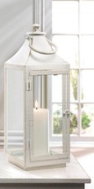 Large Sleek Simply White Traditional Candle Lantern Indoor /Outdoor - $28.66