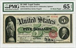 FR. 63a 1863 $5 Legal Tender Seal Type 2 PMG Gem Unc 65 EPQ ex: D. Brent... - $9,418.70