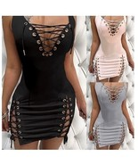 Women's Fashion Solid Color Sexy Dress Sleeveless Deep V Neck Lace Up Dr... - $29.99