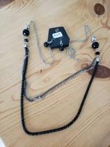 869 Silver Gray & Black Necklace Set (New) - $7.61