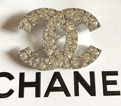 CHANEL Silver Metal CC Brooch Pin Big Clear Rhinestone Crystal Authentic... - $499.00