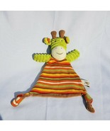 Maison Chic Giraffe Lovey Security Blanket Green Orange Red Stripes Knot... - $55.43
