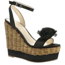 Jessica Simpson Pressa Chiffon Flower Detail Wedge Sandals, Multi Sizes Black Cr - $79.96