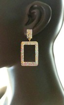 "2.75"" Long AB Rhinestones Rectangular Hoop Statement Clip On Earring Urban Chic - $17.10"