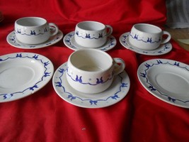 """POPPY TRAIL """"Provincial Blue""""HOMESTEAD .... 4 CUPS & SAUCERS & 2 FREE Sa... - $23.97"""
