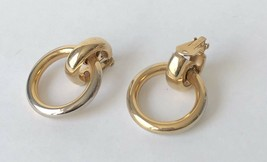 Vintage BERGERE Gold Tone Door Knocker Hoop Clip On Earrings  - $16.65