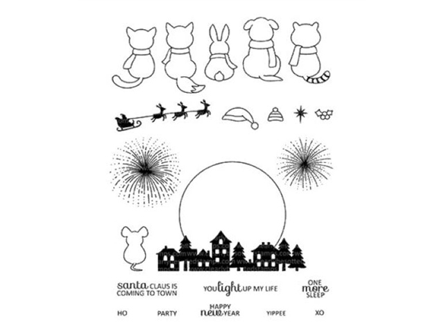 Clear Acrylic Santa Claus is Coming To Town Stamp Set, 22 Pieces