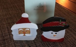 New Partylite Santa And Snowman Tealight Candle Holder Pair Set Bx22 - $9.46