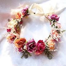 Adjustable Flower Headband Hair Wreath Floral Garland Crown Headpiece with Ribbo image 3