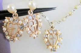 Vintage Cross Inside Hearts Rhinestone Faux Pearl Pendant Necklace & Ear... - $18.00