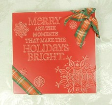 "Hallmark Christmas Ceramic Tile Plaque Trivet Red ""Merry Are The Moments... - $11.87"