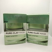 2 L'Oreal Pure Clay Mask Purify And Mattify 3 Clays Eucalyptus 1.07 oz Each - $15.83
