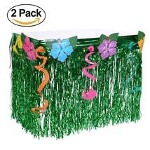 2 Packs Hawaiian Luau Hibiscus Table Skirt - Wonder4 Green Flowered Arti... - $430,80 MXN