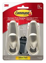 Command Forever Classic Metal Hook, Large, Brushed Nickel, 2-Hooks FC13-BN-2ES image 1