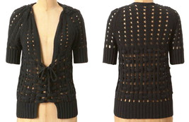 Anthropologie Corset-Tied Cardigan Medium 6 8 Black Sweater Knitted & Knotted - $39.20