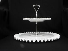 Large Vintage Fenton Milk Glass Hobnail Crimped Piecrust Edge 2-Tier Tid... - $119.99