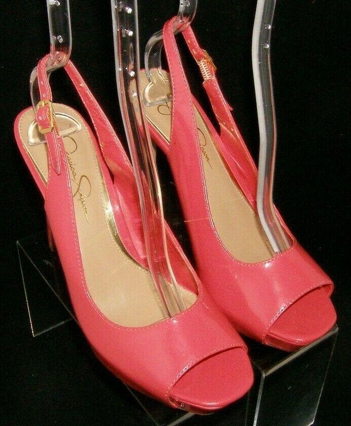 Jessica Simpson 'Barit' coral man made peep toe slingback platform heels 8B image 7
