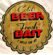 Beer Bait Bottle Cap Embossed Plasma Cut Metal Sign - $25.00