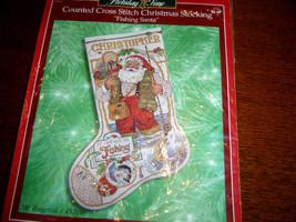 """Christmas Bucilla Counted Cross Stocking KIT, 1999 FISHING SANTA, Gillum, 18"""" - $55.75"""