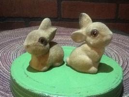 Flocked Two Rabbit Figurines  Vintage - $8.85
