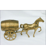Brass still bank horse with barrel cart made in Italy large nearly 3 lbs... - $69.25