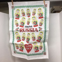 From Russia with Love Nesting Doll Linen Kitchen Towel Mint Never Used T108 - $24.26