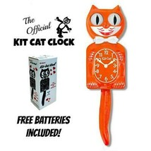 "PUMPKIN DELIGHT KIT CAT CLOCK 15.5"" Orange Free Battery USA MADE Kit-Cat... - $59.99"