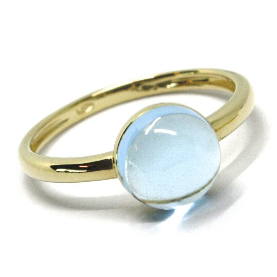 SOLID 18K YELLOW GOLD RING, CABOCHON CENTRAL BLUE TOPAZ, DIAMETER 8mm