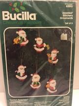 Bucilla Jeweled Stitchery Ornaments Set of 6 Kit 82013 Santa's Surprises New - $9.49