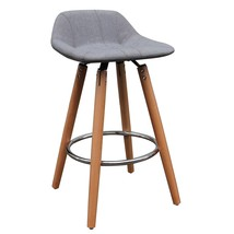 Counter Stool Natural Wood Grey Fabric Upholstery Set of 2 Kitchen Dinin... - $201.96