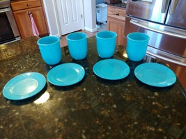 Vintage 8 Piece Childrens Kids Toy Tea Set Cups Saucers Blue Balloons Logo - £17.58 GBP