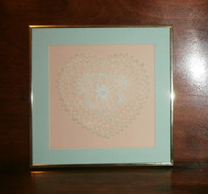 "Crochet Lace Heart Framed and Matted 12"" x 12"" - $14.50"