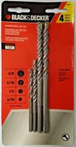 "Black & Decker 16840 4 Piece Hammer Drill Bit Set 3/16"" 1/4"" 5/16"" 3/8"" - $4.21"