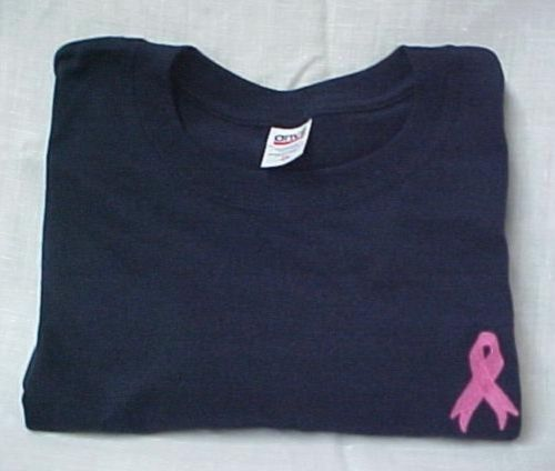 Breast Cancer T-Shirt L Pink Ribbon Navy Blue Crew Neck S/S Unisex Blend New