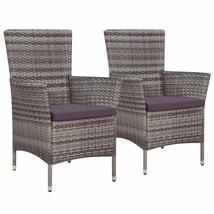 vidaXL 2x Outdoor Dining Chair Poly Rattan Wicker w/ Cushion Gray Garden... - $115.99