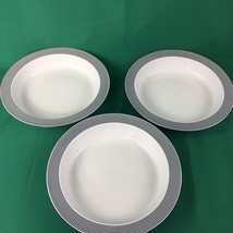 Dansk Cereal Bowls White and Blue 3 Soup Salad Bistro Collection 8 Inches - $15.00