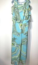 Chico's Teal Green Blue Geometric Print Cold Shoulder Maxi Dress Plus Si... - $29.69