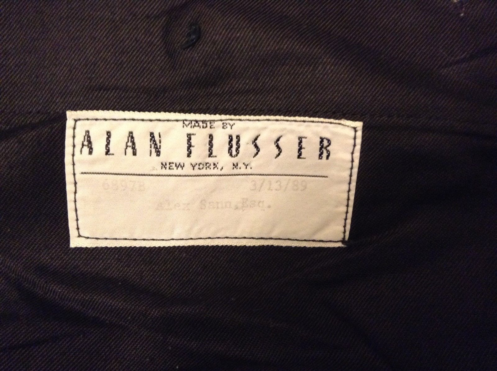 Handmade Black White Lt Blue Men's Dress Pants by Alan Flusser N.Y.