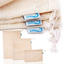 Okeanami's Reusable Produce Bags, Cotton Mesh, Set of 10, Small Medium L... - $42.45 CAD
