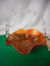 "Fenton Art Glass Carnival Glass Basket Grape 8"" - $58.86"