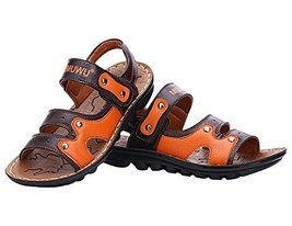 Fashion Boy's Outdoor Casual Beach Sandal Leather Shoes BROWN, Feet Length 16CM