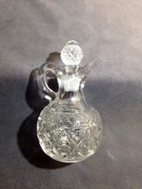 "Imperial Glass 160-116 CAPE COD Diamond Star Clear Cruet 3 1/2"" Tall w Stopper - $9.99"